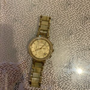Michael Kors gold and light tortoise shell watch